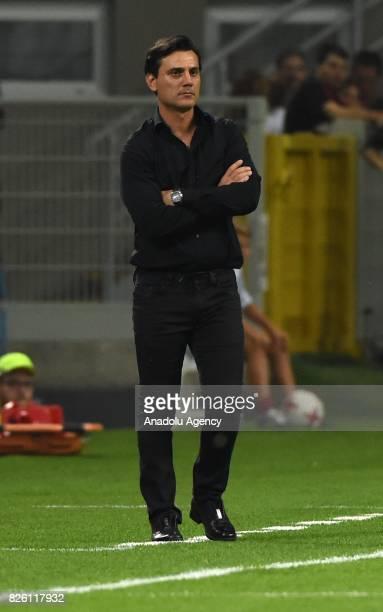 Head Coach of AC Milan Vincenzo Montella looks on during UEFA Europa League Qualifying Round match between AC Milan and CS U Craiova at Giuseppe...