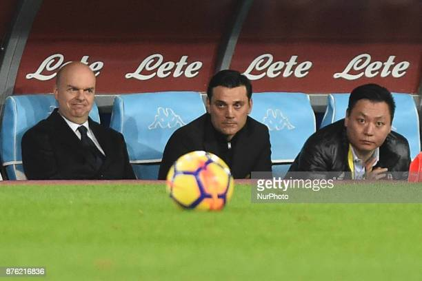 Head Coach of AC Milan Vincenzo Montella with AC Milan Mr Lee and Director General of AC Milan Marco Fassone during the Serie A TIM match between SSC...