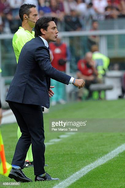 Head Coach of ACF Fiorentina Vincenzo Montella looks the Serie A match between Torino FC and ACF Fiorentina at Stadio Olimpico di Torino on September...