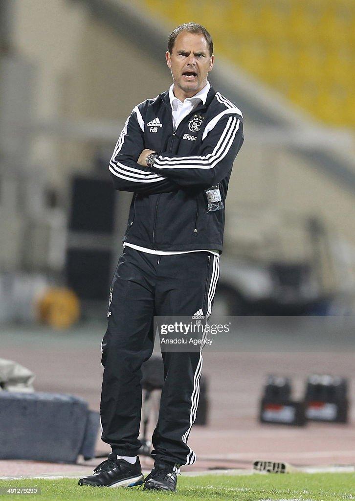 Head coach of Ajax Amsterdam Frank de Boer is seen during the international friendly soccer match between FC Schalke 04 and Ajax Amsterdam at Qatar Sport Club Stadium in Doha, Qatar on January 10, 2015.