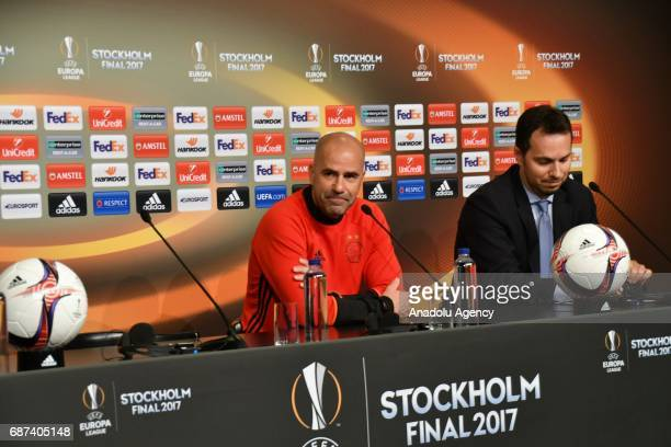 Head Coach of Ajax Amsterdam Peter Bosz gestures during a press conference ahead of the UEFA Europa League final match between Ajax Amsterdam and...