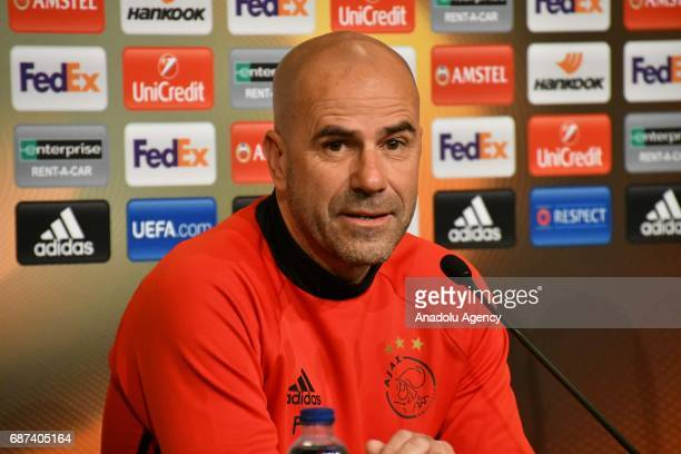 Head Coach of Ajax Amsterdam Peter Bosz speaks during a press conference ahead of the UEFA Europa League final match between Ajax Amsterdam and...