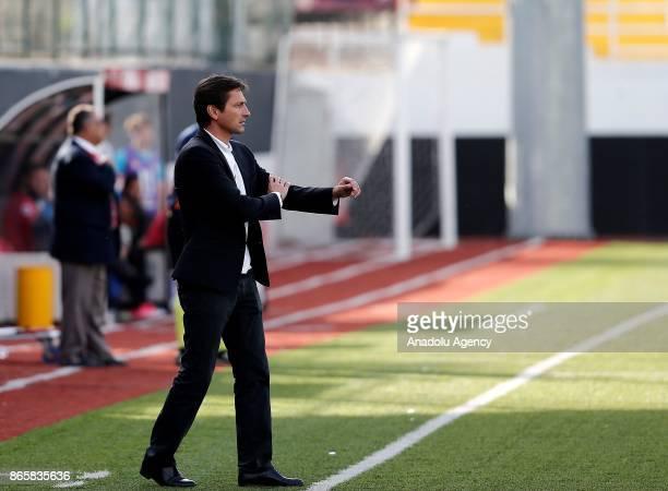 Head coach of Antalyaspor Leonardo gestures during the 4th round of the Ziraat Turkish Cup soccer match between Etimesgut Belediyespor and...