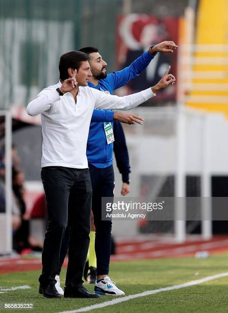 Head coach of Antalyaspor Leonardo gives tactics to his players during the 4th round of the Ziraat Turkish Cup soccer match between Etimesgut...