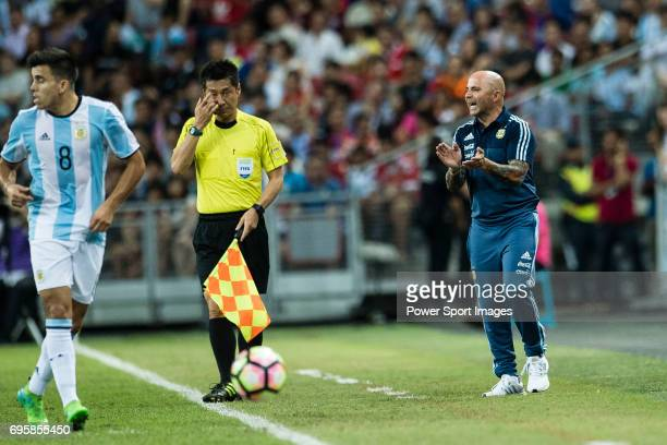 Head coach of Argentina Jorge Sampaoli gestures during the International Test match between Argentina and Singapore at National Stadium on June 13...