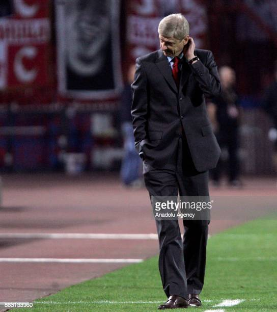 Head coach of Arsenal Arsene Wenger reacts during the UEFA Europa League Group H soccer match between Crvena Zvezda and Arsenal at Rajko Mitic...