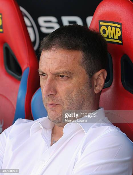 Head coach of AS Bari Devis Mangia during the Serie B match between Catania Calcio and AS Bari at Stadio Angelo Massimino on October 12 2014 in...