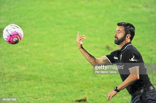 Head coach of AS Livorno Christian Panucci gesticulates during the TIM Cup match between Carpi FC and AS Livorno at Stadio Sandro Cabassi on August...