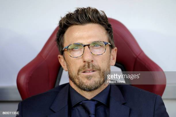 Head coach of AS Roma Eusebio Di Francesco during the Serie A match between Torino FC and AS Roma at Stadio Olimpico di Torino on October 22 2017 in...