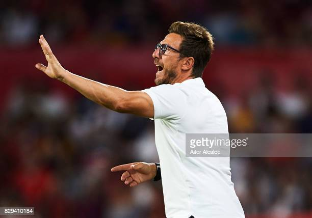 Head Coach of AS Roma Eusebio Di Francesco gives instructions to his players during a Pre Season Friendly match between Sevilla FC and AS Roma at...