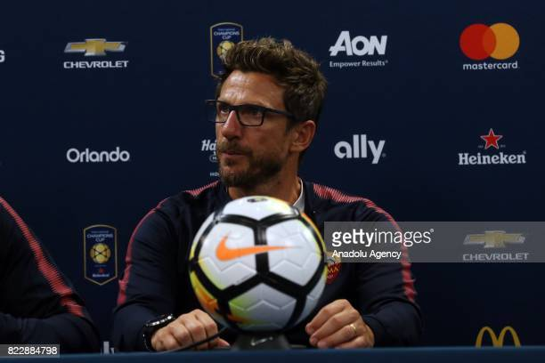 Head Coach of AS Roma Eusebio Di Francesco holds a press conference after a friendly match between AS Roma and Tottenham Hotspur within International...