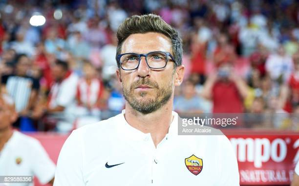 Head Coach of AS Roma Eusebio Di Francesco looks on during a Pre Season Friendly match between Sevilla FC and AS Roma at Estadio Ramon Sanchez...