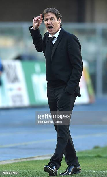 Head Coach of AS Roma Rudi Garcia looks during the Serie A match between AC Chievo Verona and AS Roma at Stadio Marc'Antonio Bentegodi on January 6...