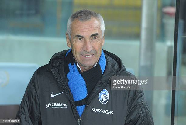 Head coach of Atalanta BC Edoardo Reja looks on during the TIM Cup match between Udinese Calcio and Atalanta BC at Stadio Friuli on December 2 2015...