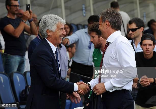 Head Coach of Atalanta BC Gian Piero Gasperini and head coachs of FC Torino Sinisa Mihajlovic attends the Serie A match between Atalanta BC and FC...