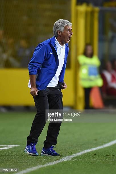 Head Coach of Atalanta BC Gian Piero Gasperini gestures during the Serie A match between Atalanta BC and SS Lazio at Stadio Atleti Azzurri d'Italia...