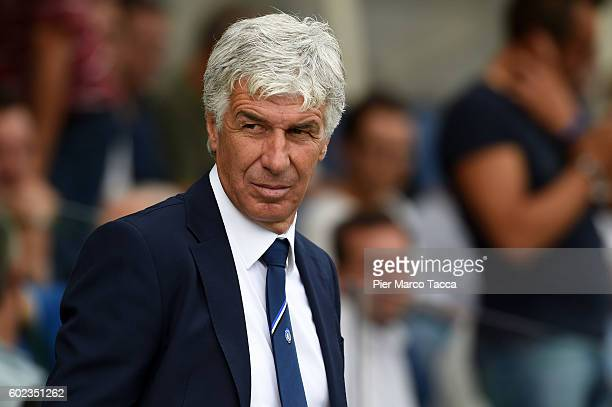 Head Coach of Atalanta BC Gian Piero Gasperini looks during the Serie A match between Atalanta BC and FC Torino at Stadio Atleti Azzurri d'Italia on...