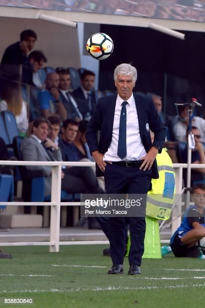 Head Coach of Atalanta BC Gian Piero Gasperini looks during the Serie A match between Atalanta BC and AS Roma at Stadio Atleti Azzurri d'Italia on...