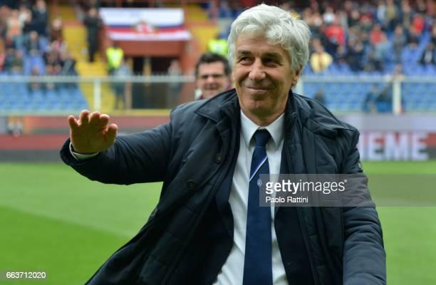 Head coach of Atalanta Gian Piero Gasperini waves to the crowd during the Serie A match between Genoa CFC and Atalanta BC at Stadio Luigi Ferraris on...