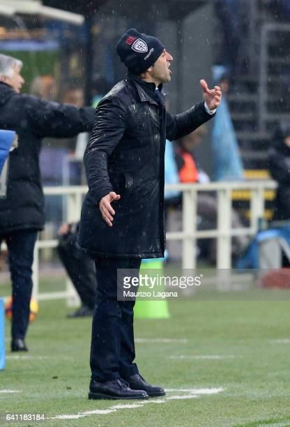 Head coach of Atalanta Massimo Rastelli gestures during the Serie A match between Atalanta BC and Cagliari Calcio at Stadio Atleti Azzurri d'Italia...