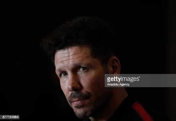 Head coach of Atletico Madrid Diego Simeone is seen during a prematch press conference ahead of UEFA Champions League Group C match between Atletico...