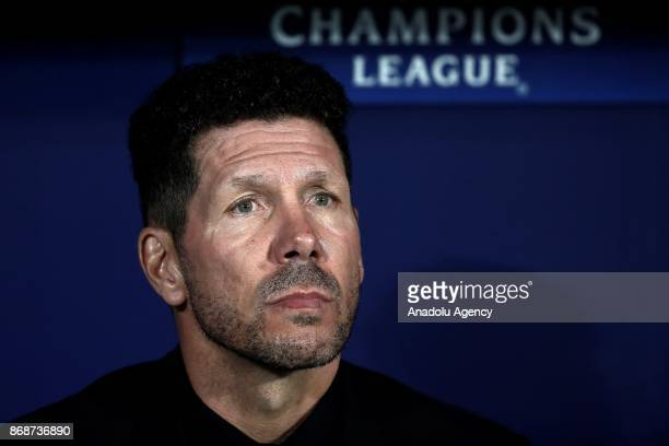 Head coach of Atletico Madrid Diego Simeone looks on during the UEFA Champions League Group C soccer match between Atletico Madrid and Qarabag FK at...