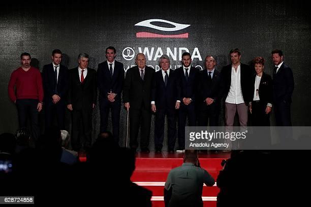 Head coach of Atletico Madrid Diego Simeone President of Atletico Madrid Enrique Cerezo Gabi Diego Godin and Koke of Atletico Madrid pose for a photo...