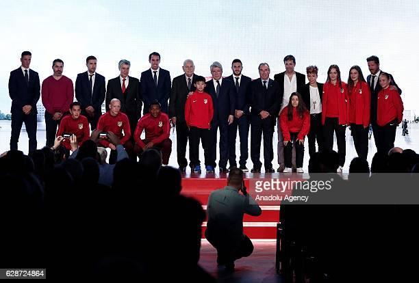 Head coach of Atletico Madrid Diego Simeone President of Atletico Madrid Enrique Cerezo Gabi Diego Godin Fernando Torres and Koke of Atletico Madrid...