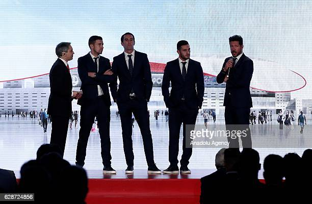 Head coach of Atletico Madrid Diego Simeone speaks before President of Atletico Madrid Enrique Cerezo announces the name of their new stadium Wanda...