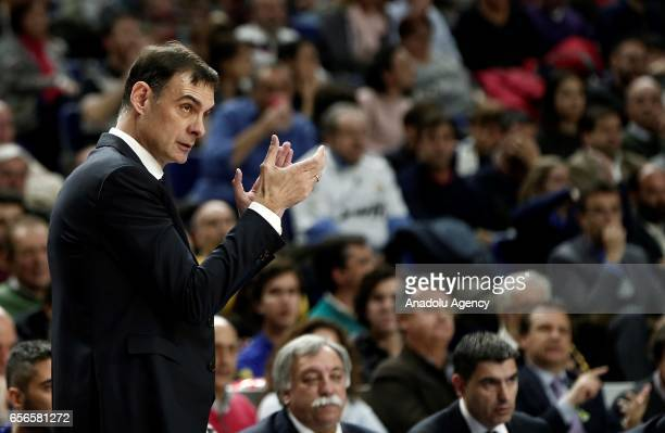 Head coach of Barcelona Lassa Georgios Bartzokas gestures during the Turkish Airlines Euroleague basketball match between Real Madrid and Barcelona...