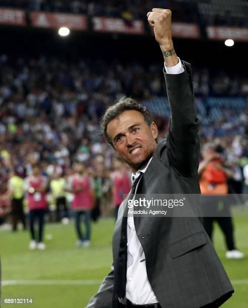 Head coach of Barcelona Luis Enrique celebrates after the Copa Del Rey Final between FC Barcelona and Deportivo Alaves at Vicente Calderon Stadium on...