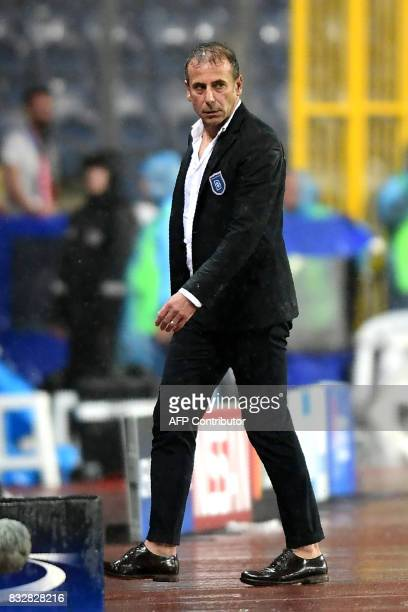 Head Coach of Basaksehir Abdullah Avci looks on during the UEFA Champions League playoff first leg football match between Istanbul Basaksehir and...
