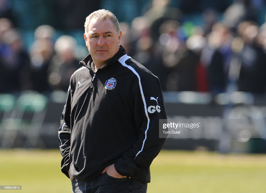 Head Coach of Bath Gary Gold looks on during the Amlin Challenge Cup Quarter Final match between Bath and Stade Francais at the Recreation Ground on April 06, 2013 in Bath, England.