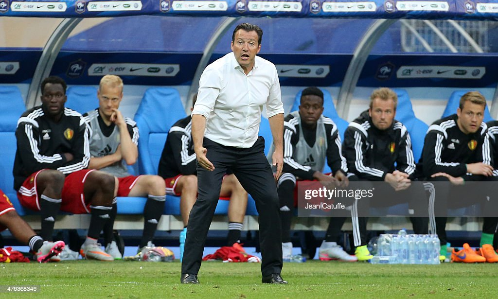 Head coach of Belgium <a gi-track='captionPersonalityLinkClicked' href=/galleries/search?phrase=Marc+Wilmots&family=editorial&specificpeople=1016207 ng-click='$event.stopPropagation()'>Marc Wilmots</a> reacts during the international friendly match between France and Belgium at Stade de France on June 7, 2015 in Saint-Denis nearby Paris, France.
