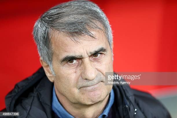 Head Coach of Besiktas JK Senol Gunes gestures during UEFA Europa League Group H match between Besiktas JK and KF Skenderbeu at Ataturk Olympic...