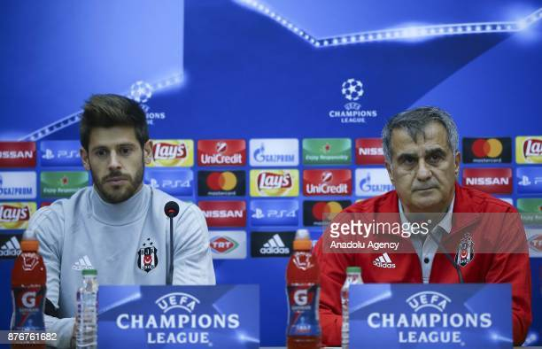 Head coach of Besiktas Senol Gunes and Besiktas' goalkeeper Fabricio answer the questions during a press conference ahead of UEFA Champions League...