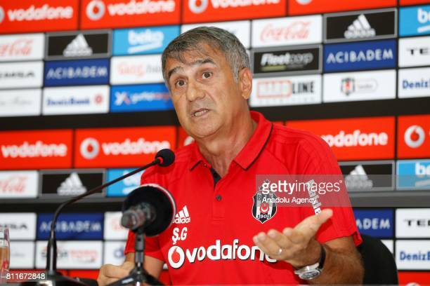 Head Coach of Besiktas Senol Gunes delivers a speech during a press conference at Besiktas Nevzat Demir Sports Facilities in Umraniye district of...