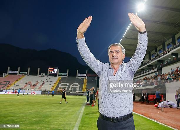 Head coach of Besiktas Senol Gunes gestures ahead of the Turkish Spor Toto Super Lig football match between Akhisar Belediyespor and Besiktas at the...
