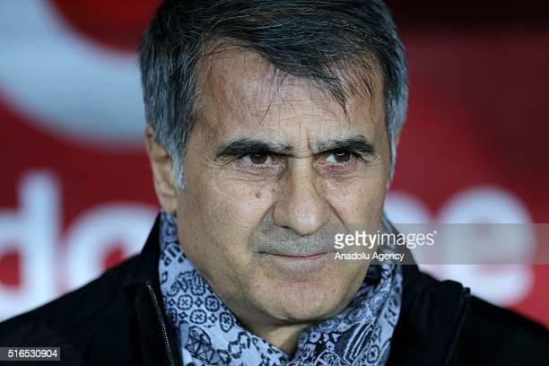 Head coach of Besiktas Senol Gunes gestures during the Turkish Spor Toto Super Lig football match between Besiktas and Antalyaspor at the Basaksehir...