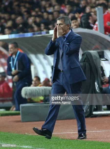 Head coach of Besiktas Senol Gunes gestures during the Turkish Spor Toto Super Lig football match between Antalyaspor and Besiktas at the Antalya...