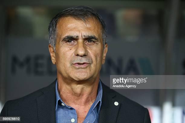 Head Coach of Besiktas Senol Gunes gestures during the Turkish Super Toto Super Lig match between Atiker Konyaspor and Besiktas at Torku Arena in...