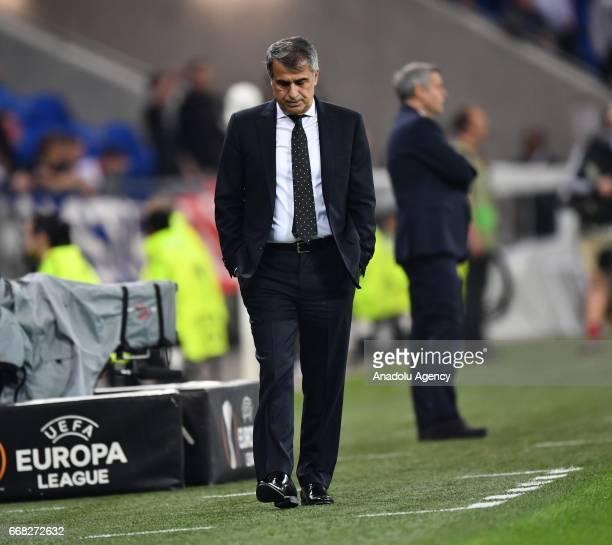 Head coach of Besiktas Senol Gunes gestures during the UEFA Europa League first leg quarter final football match between Olympique Lyonnais and...