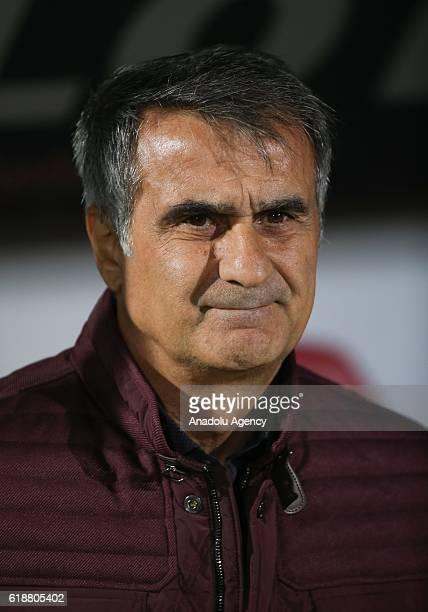 Head coach of Besiktas Senol Gunes gestures during Turkish Spor Toto Super Lig match between Genclerbirligi and Besiktas at 19 Mayis Stadium in...
