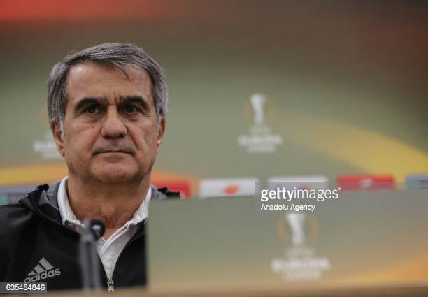 Head coach of Besiktas Senol Gunes holds a press conference ahead of UEFA Europa League Round of 32 match between Hapoel BeerSheva and Besiktas at...