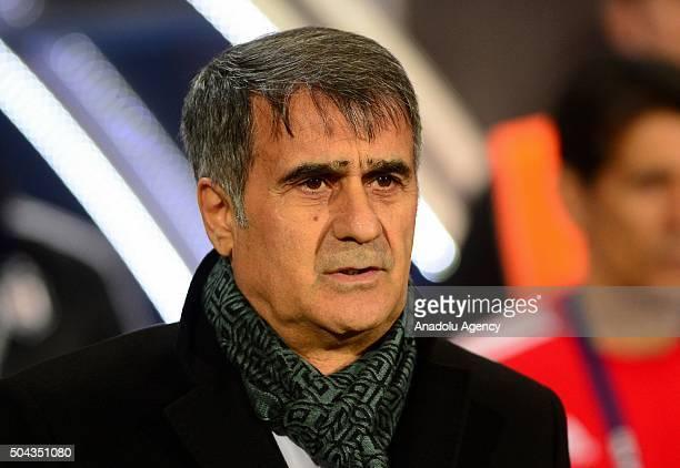 Head coach of Besiktas Senol Gunes is seen during the Ziraat Turkish Cup football match between 1461 Trabzon and Besiktas at Huseyin Avni Aker...