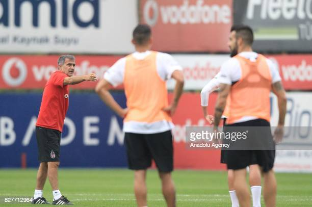 Head coach of Besiktas Senol Gunes leads a training session ahead of the Turkish Spor Toto Super Lig new season match between Besiktas and...