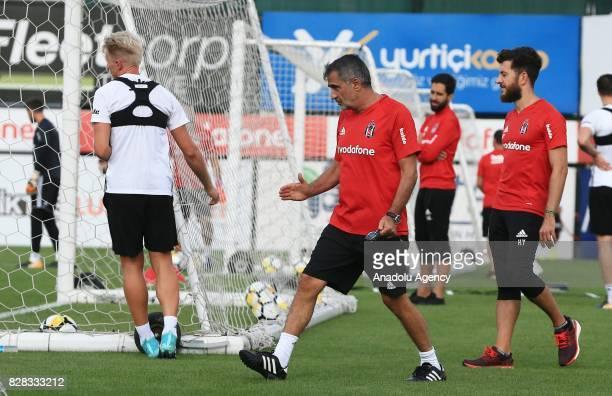 Head coach of Besiktas Senol Gunes leads a training session ahead of the Turkish Spor Toto Super Lig new season match between Besiktas and...