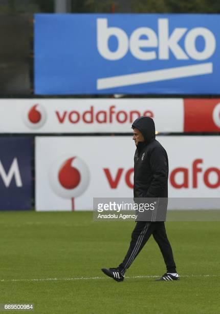 Head Coach of Besiktas Senol Gunes leads the training session ahead of the UEFA Europa League second leg quarter final football match between...