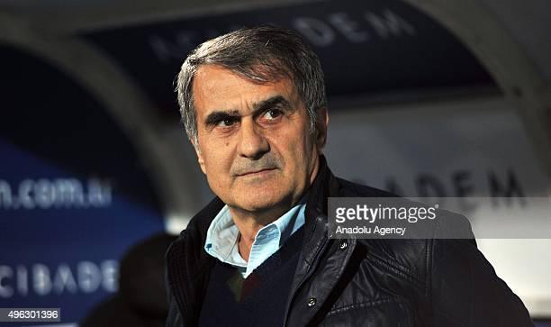 Head coach of Besiktas Senol Gunes looks on prior to the Turkish Spor Toto Super League football match between Bursaspor and Besiktas at Ataturk...