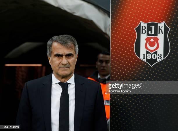Head coach of Besiktas Senol Gunes poses for a photo ahead of the UEFA Europa League Round 16 secondleg match between Besiktas and Olympiacos at...